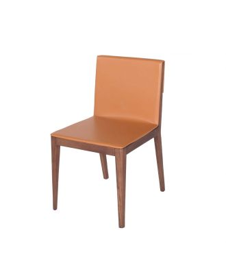 DINING CHAIR ORANGE LEATHER