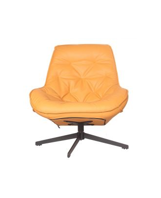 ACCENT CHAIR SWIVEL TUFTED LEATHER ORANGE