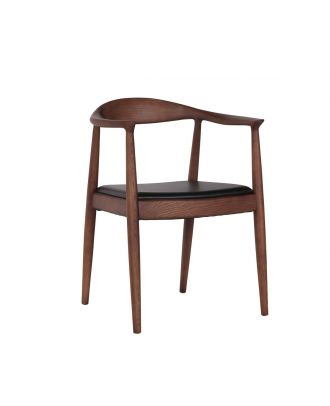 DINING ARM CHAIR LEATHER BLACK