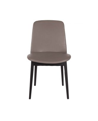 DINING CHAIR LEATHER - GREY