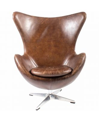 ST.ANNE SWIVEL CHAIR BROWN LEATHER