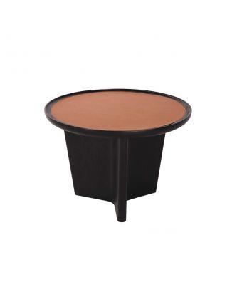 COFFEE TABLE ORANGE LEATHER TOP