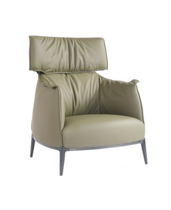 LEATHER CHAIR - OLIVE GREEN